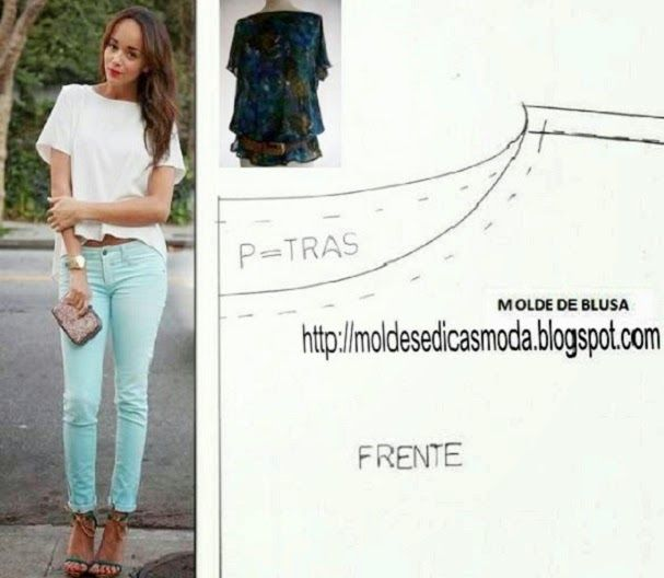 MOLDE DE BLUSA DESCONTRAÍDA Molde de blusa para imprimir grátis. Esta blusa veste de forma descontraída, tem um estilo casual e elegante. Versátil, adapta-