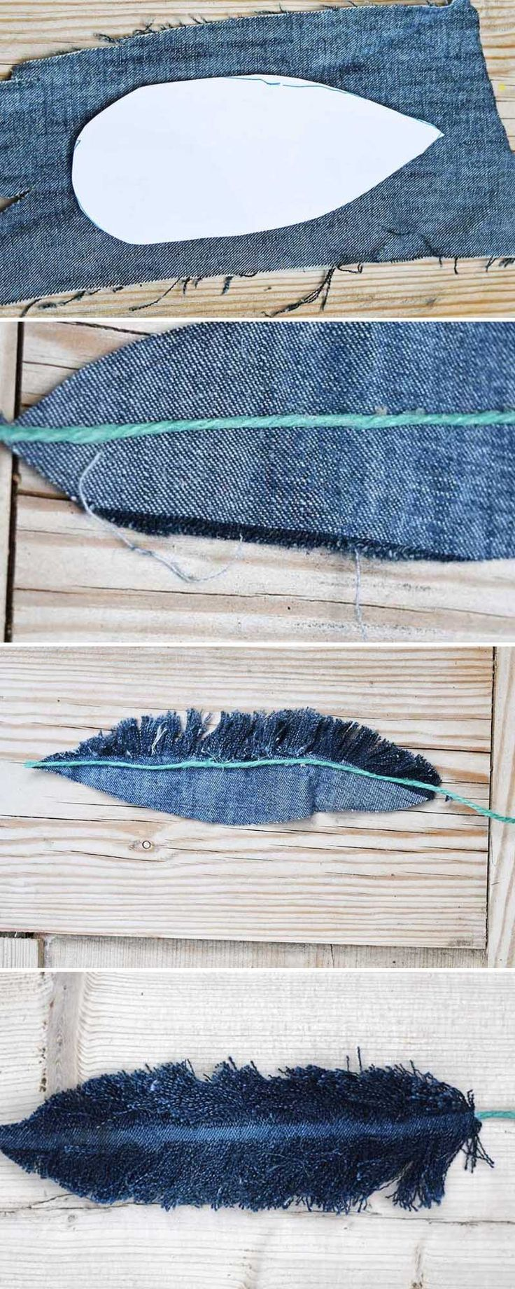 How To Make Denim Feather Wall Decor Denim Handwerk