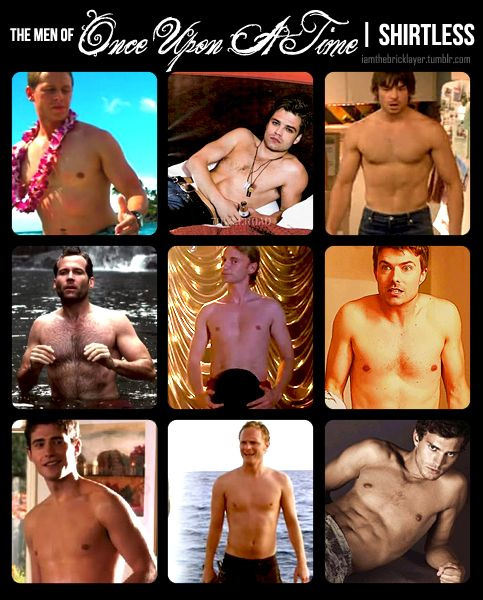The men of Fairy Tale Land/Storybrooke…shirtless! Clockwise from top left: Josh Dallas (Prince Charming/David), Sebastian Stan (Mad Hatter/Jefferson), Jesse Hutch (Peter), Noah Bean (Daniel), Jamie Dornan (Graham/Huntsman), David Anders (Dr. Whale), Julian Morris (Prince Phillip), Eion Bailey (Pinocchio/August). In the center, of COURSE, Robert Carlyle (Mr. Gold/Rumpel)!