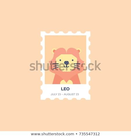 Leo Horoscope Set Cute Illustration of Zodiac Signs in Cartoon Flat Style Vector