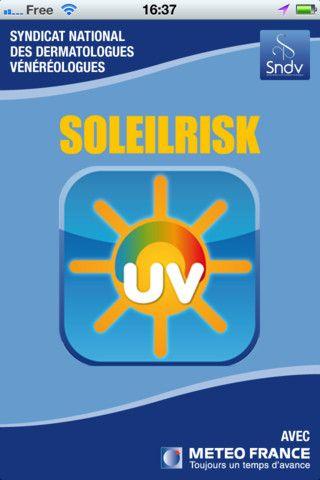 SoleilRisk est une application développée par le Syndicat National des Dermatologues en partenariat avec Météo France sur Ios et Androïd.