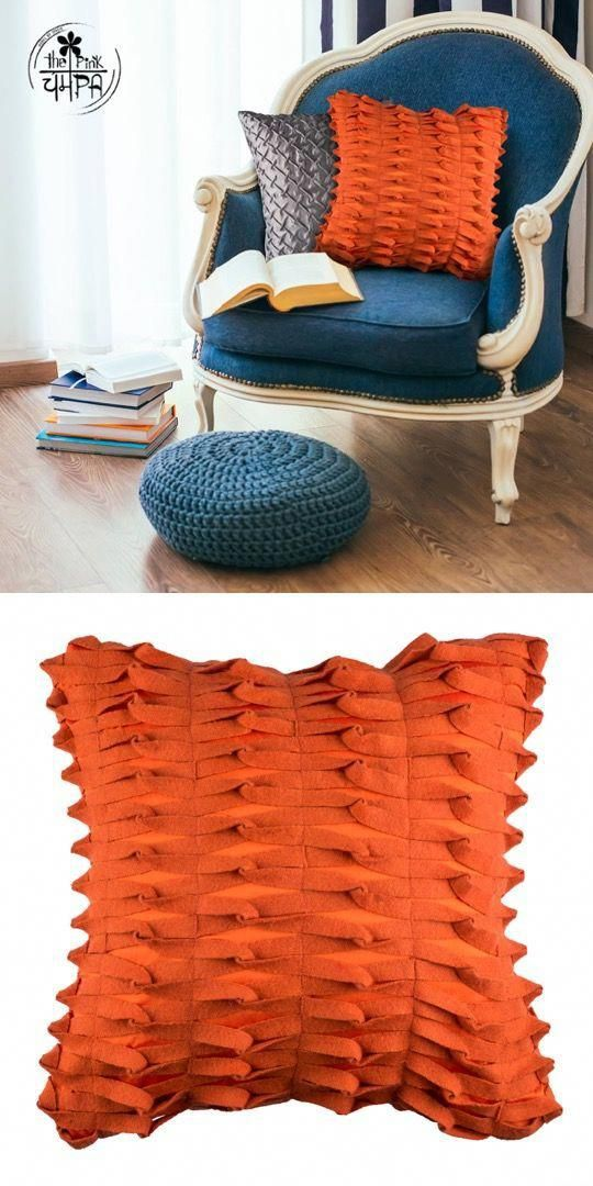 Handmade Orange Decorative Throw Pillow Cover