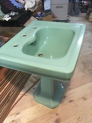 Vintage American Standard Ming Green Pedestal Sink   Ebay