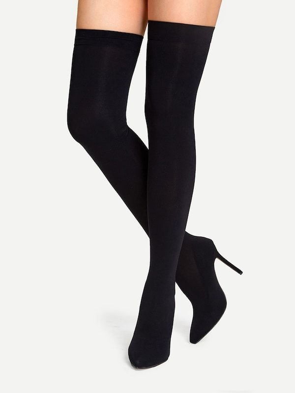 Solid knit Boots SheIn(Sheinside) | Knit boots, Thigh high