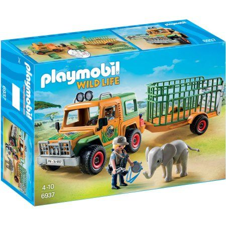Playmobil Ranger's Truck with Elephant Playset, Multicolor