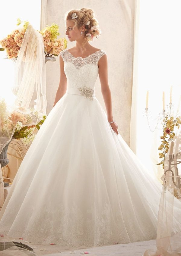 bridal gown from Mori Lee by Madeline Gardner Style 2607 Classic Chantilly Lace on Tulle with Wide Hemline and Satin Waistband