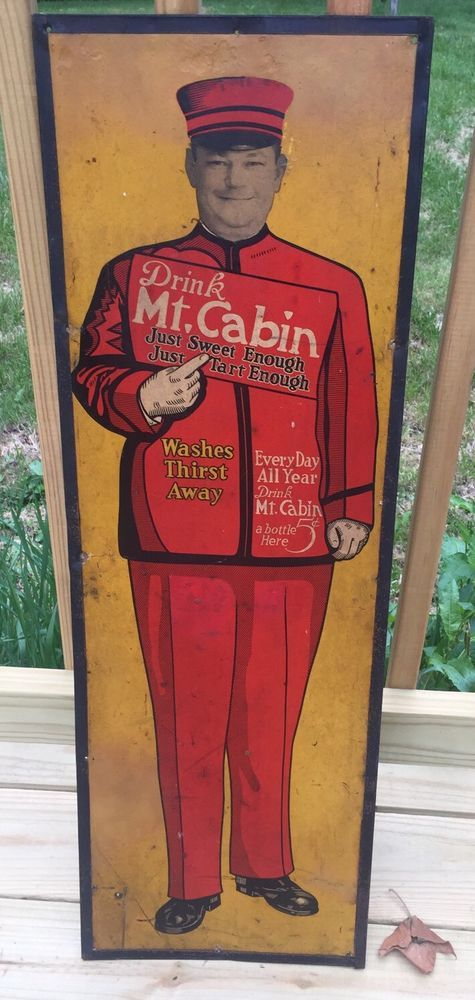Mt. Cabin Antique Soda Advertising Sign 3' X 1' Nice Rare Cardboard Tin Frame  | eBay