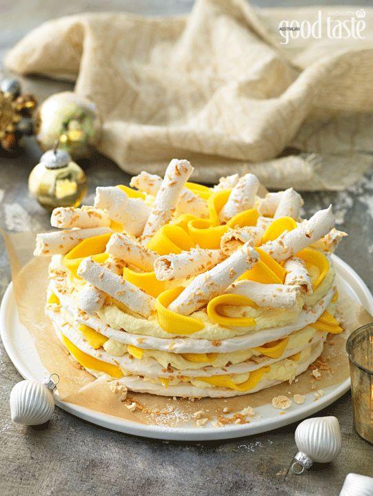 A very Australian Christmas dessert: Mango, white chocolate and coconut gateau ~ recipe Kathy Knudsen ~ pic Rob Palmer