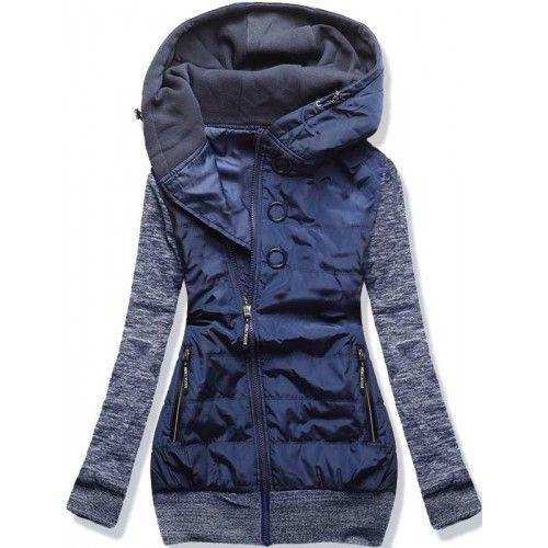 Dámská jarní/podzimní bunda Donie tmavě modrá – modrá – originální kombinace bundy a mikiny – asymetrický zip – tři ozdobné kolečka – dvě přední kapsy na zip – lemy ve spodní části i na rukávech …
