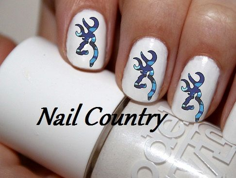 50pc Love Country Blue Camo Deer Nail Decals Nail Art Nail Stickers Best Price On Etsy NC56 on Etsy, $3.99