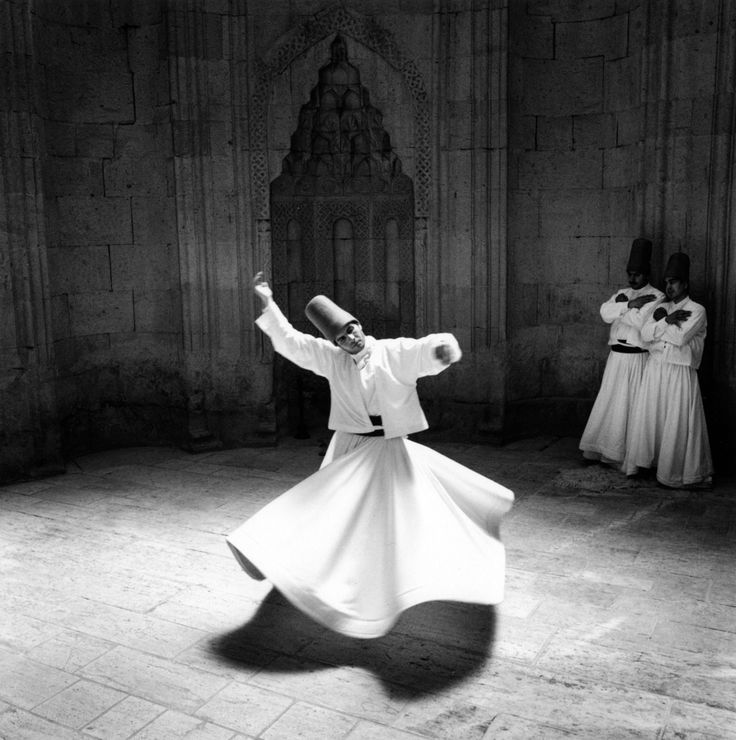 Sufi semazens in Mevlevi ritual. The theme of Rumi's thought, like that of other mystic and Sufi poets, is essentially that of the concept of union with his beloved – from which/whom he has been cut off and become aloof – and his longing and desire to restore it.