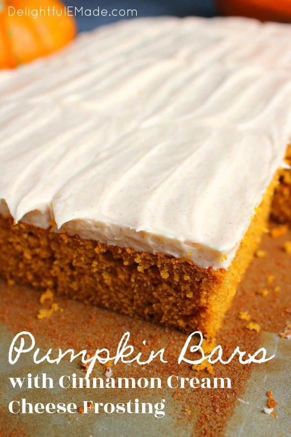 These Pumpkin Bars with Cinnamon Cream Cheese Frosting are like pumpkin sheet ca…