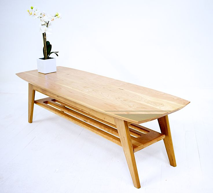 Soho:Midcentury Modern Surfboard Coffee Table with brass accents