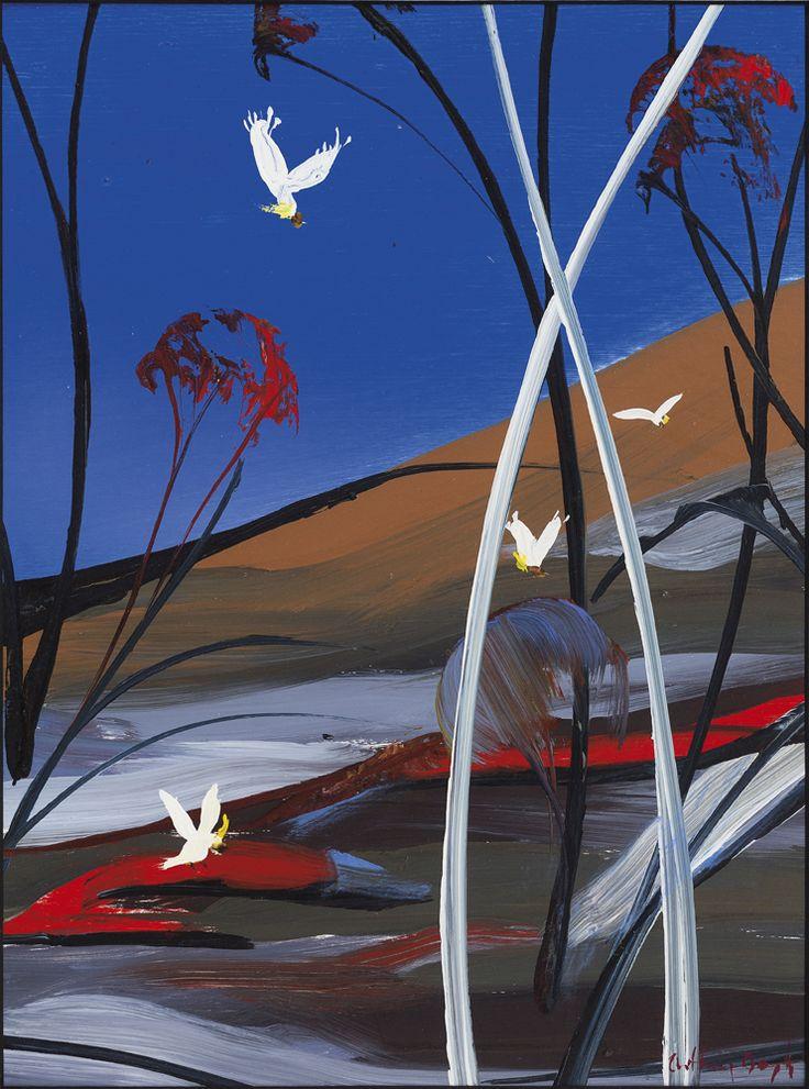 South Coast Landscape and Cockatoos by Arthur Boyd