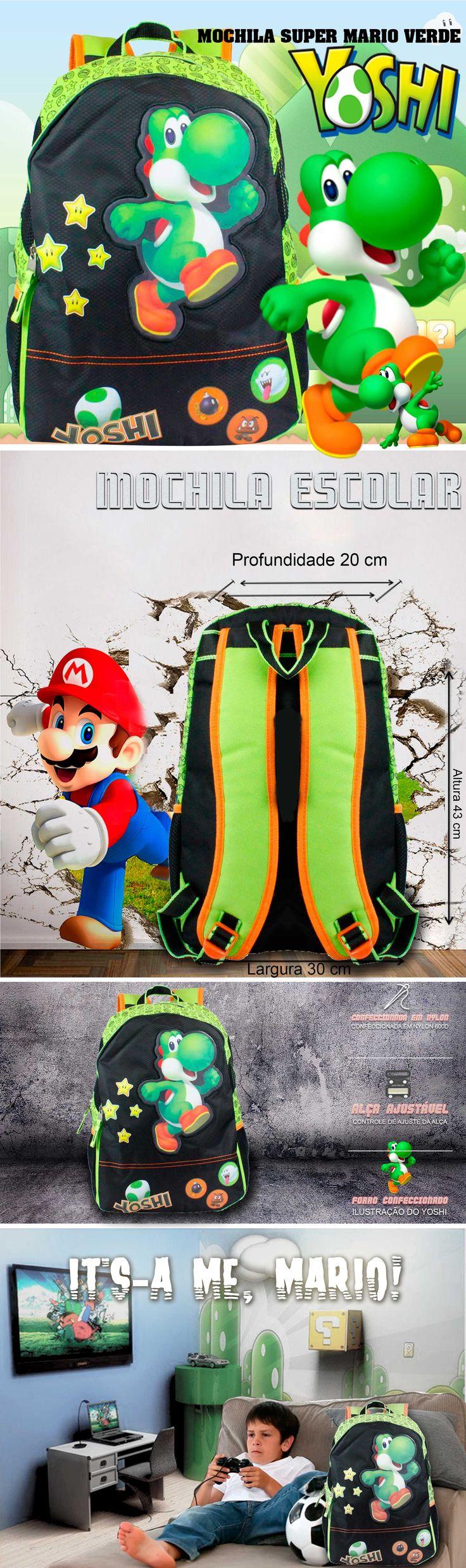 Mochilas escolares Yoshi Super Mario . A maior variedade de bolsas, malas e mochilas da internet em um só lugar. Pensou em bolsa, pensou EllaStore. A sua loja de bolsas da internet