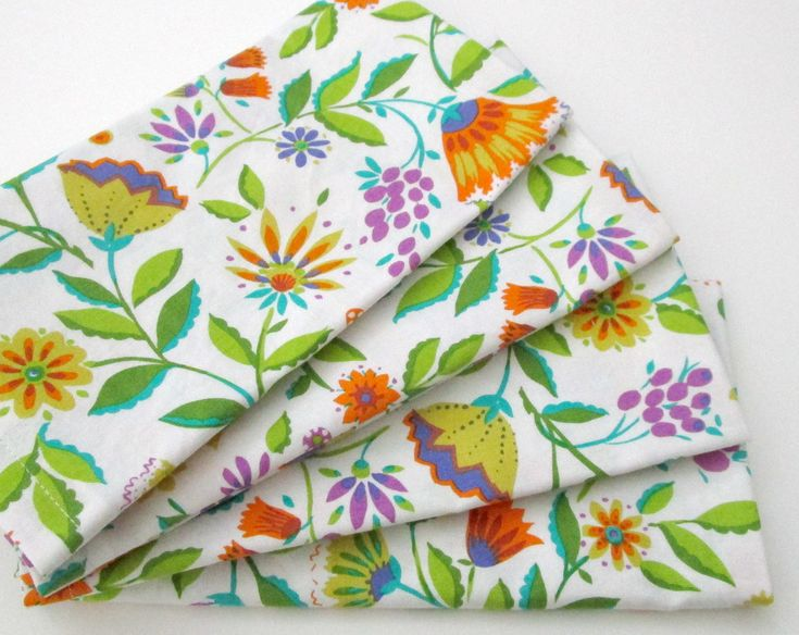 large cloth napkins set of 4 white floral flowers blue orange purple green