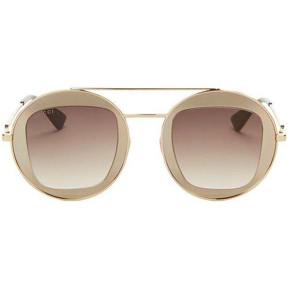2f8383763014f Gucci Women s Round Gold Sunglasses (611