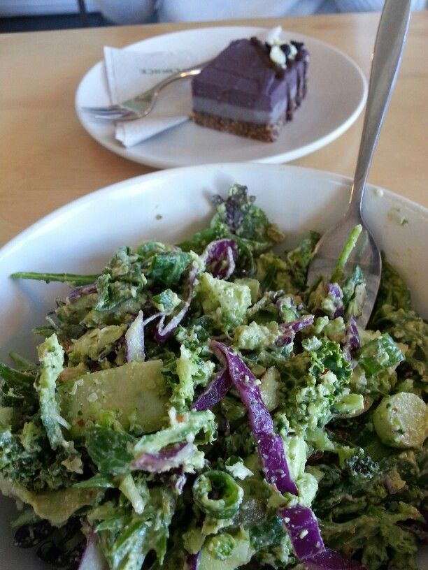 Out to lunch at #sipkitchen today, Super Green Salad and Berry Cheese Cake shared with my daughter :)