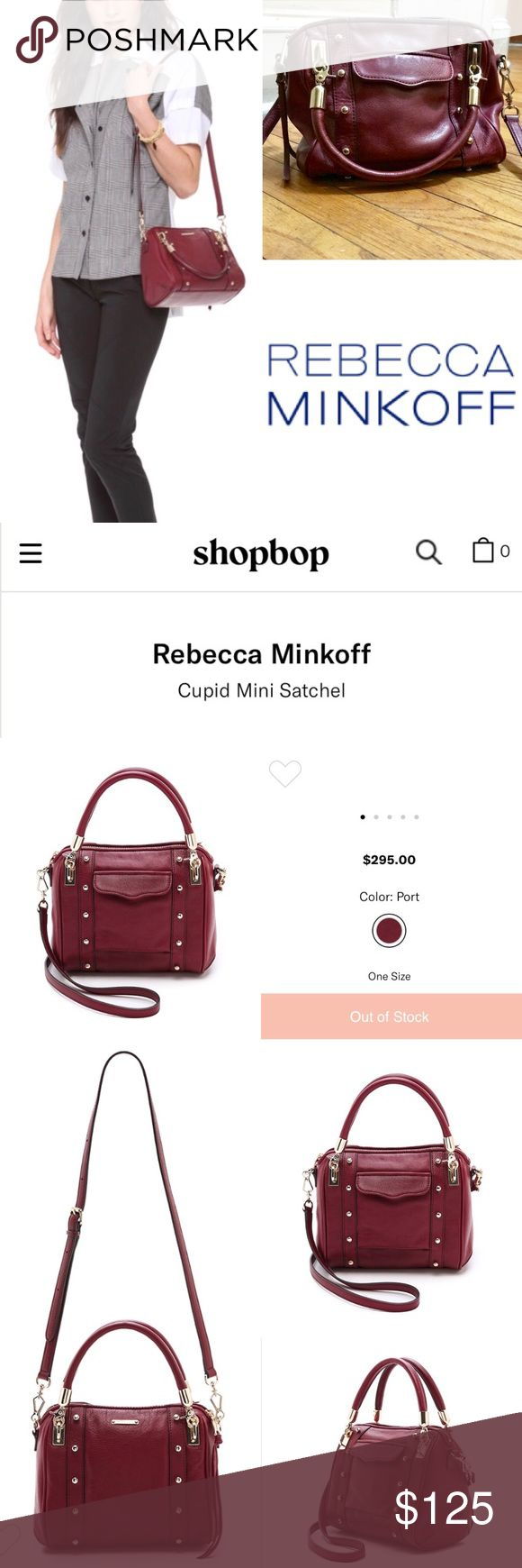 Rebecca Minkoff Cupid Mini in Port Wine Red EUC Rebecca Minkoff Cupid Mini bag in 'port' with gold hardware, fits a surprising amount for a smaller bag. Includes the satchel style handles and the adjustable long strap, which are both in great condition, along with the corners and the general condition of the leather. There are a few faint small stains on the bottom as shown in photo, the interior shows a little wear, but no other flaws found. Please see photo for description.  (no dust bag)…