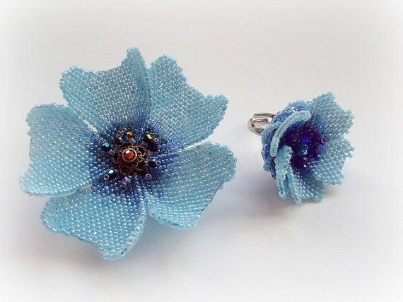 Elegant Blue Poppy Flower Seed Beads Stitched by MilenasBoutique, $48.00