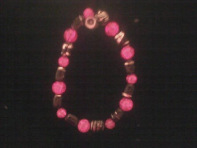 HOT PINK and black bracelet I've made!
