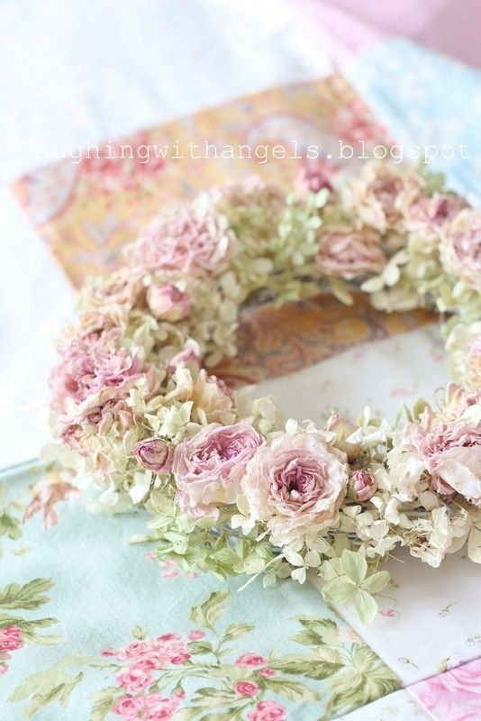 Beautiful Dried Rose Wreath ~ From junk chic cottage.blogspot.com  Repinned by, Pamma @ TheCottageWreath https://www.pinterest.com/DIYCottageStyle/