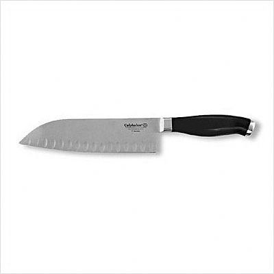 Calphalon Contemporary 5-Inch Santoku Knife by Calphalon. $24.99. Lifetime Warranty. Full tang provides better balance and superior strength. High carbon, no-stain German steel from tip to tang.  Sharpens more easily than ordinary stainless and maintains its edge longer.  Resists rust, stains, discoloration.. One piece forging of blade, bolster and tang for long-lasting durability. No parts to separate.. Ergonomic grip handle uniquely contoured for one size fits all comfort.. Cal...