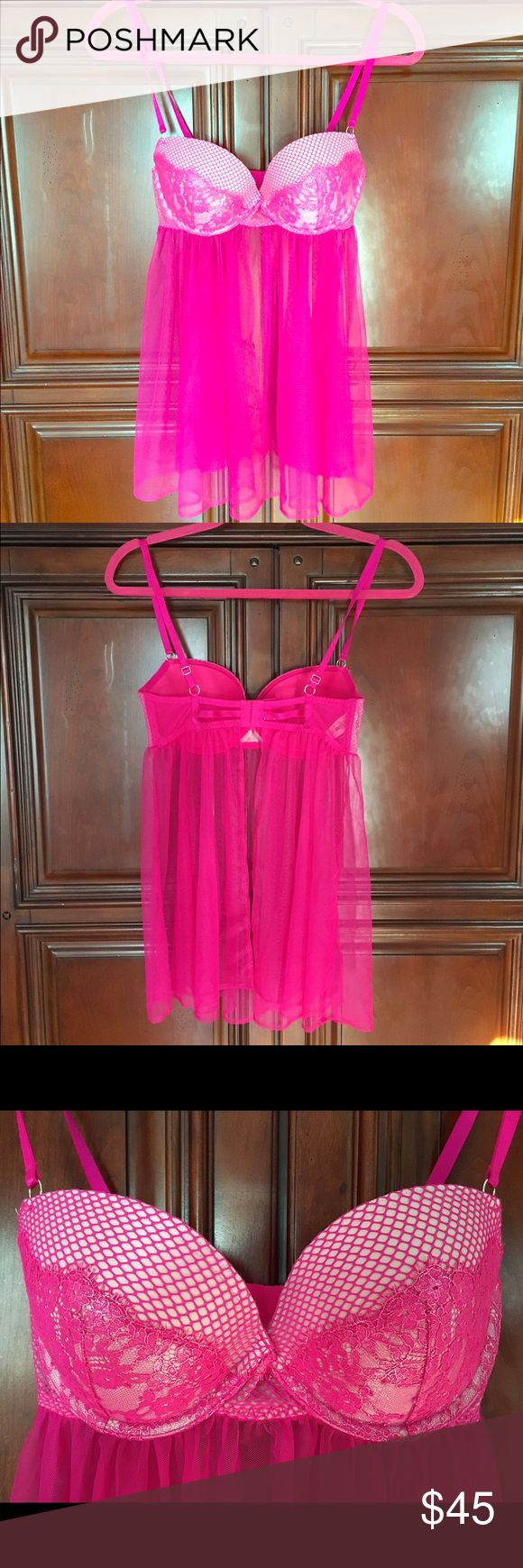 NWT Victoria Secret hot pink bra/Lingerie- 34 B Gorgeous mesh and lace bra top with sheer covering and open back. Sweet & sexy! Victoria's Secret Intimates & Sleepwear Bras