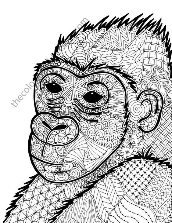 Gorilla Coloring Sheet Animal Pdf By TheColoringAddict
