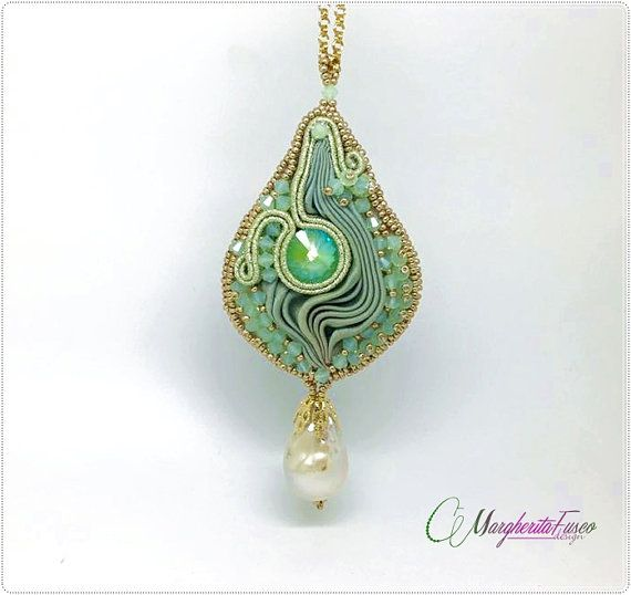 OOAK bead embroidery pendant with shibori silk by 75marghe75