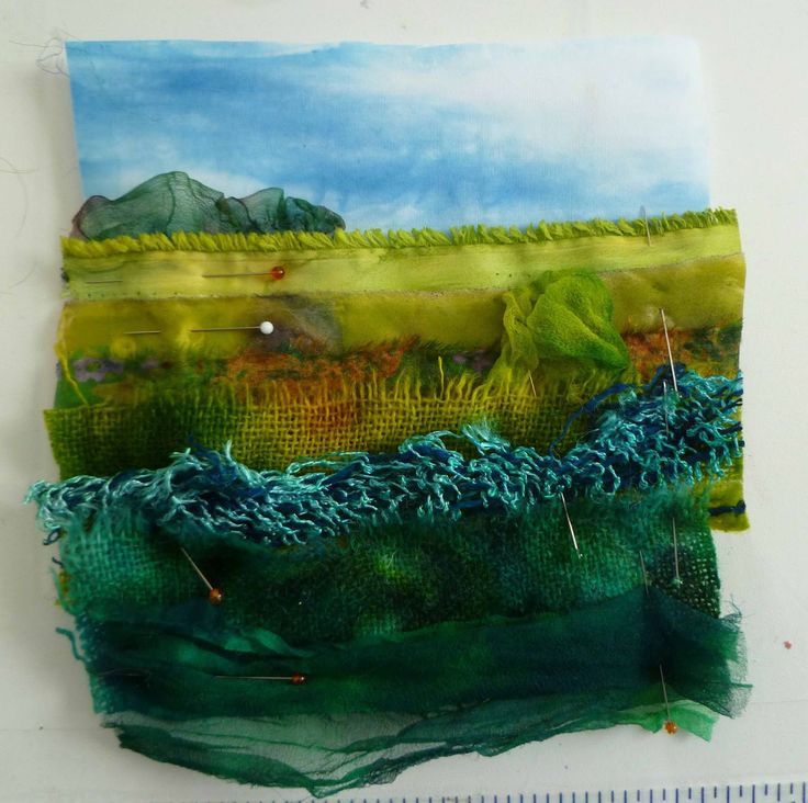 I got the idea for these from a woman who stitched layers of fabric together with decorative stitches. I thought about landscapes because I...