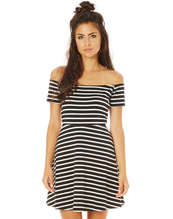 Stripe Knit Bardot Dress