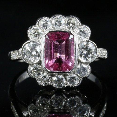 Antieke roze saffier & Diamond Ring  2.5ct roze door LaurelleLtd