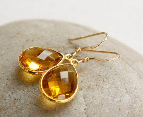 Gold November Citrine Gemstone Earrings