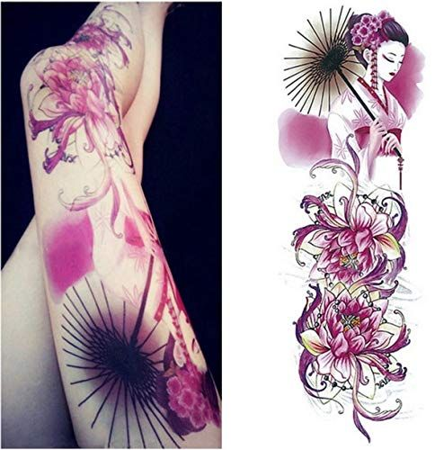 BRT Full Arm Tempora Tattoo Sleeve Peacock Maronto Bone Design Waterproof Cool M…