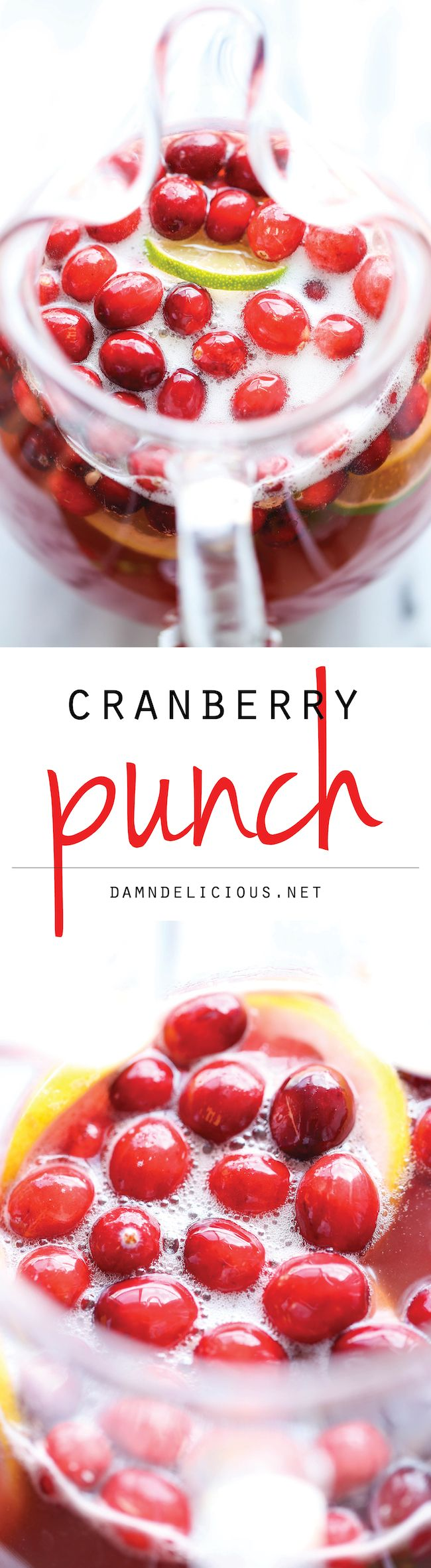 Cranberry Punch - A super easy, refreshing drink so perfect for the holidays! And you can even make this an alcoholic drink for the grown-ups!