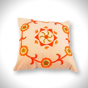 "Cotton Cushion Cover (16"" x 16"")   Red & Green Chain Stitch   MRP- Rs. 499"