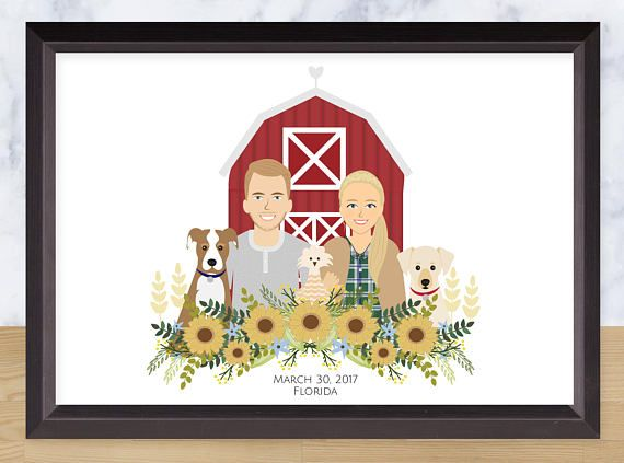Illustrated couple Portrait With Background Custom