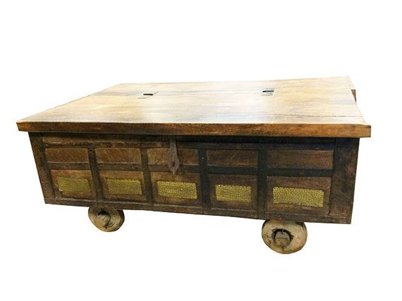 Country Style Coffee Table- Antique Chest on Wheels Hope Chest Coffee Table India Brass Cladded by MOGULGALLERY