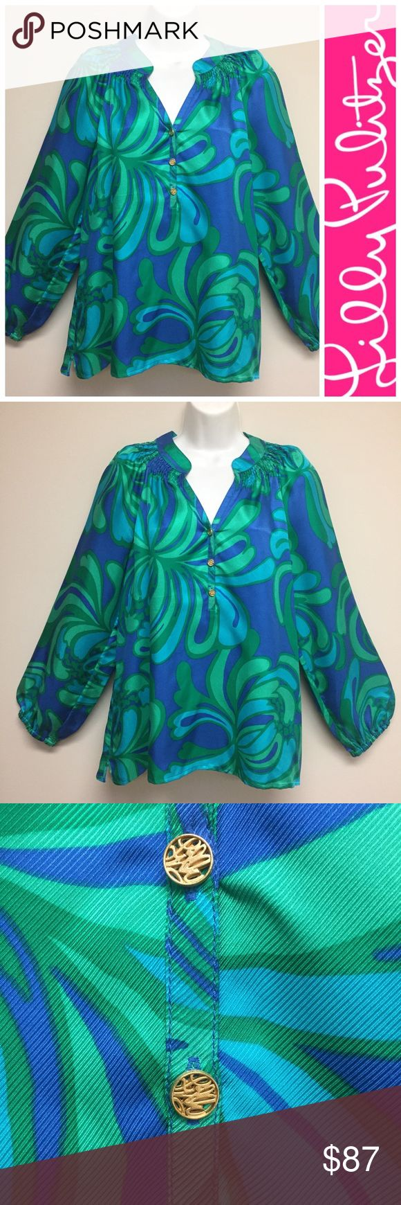 """EEC LILLY PULITZER Elsa Silk Blouse EEC Tunic style bright and fresh. No snags, stains, runs. I don't recall print name. 100% Silk classic Lilly gold buttons on neckline. Notice smocking detail around neck. Pet and smoke free closet 25.5"""" long, 21"""" chest, 24"""" sleeve length. Lilly Pulitzer Tops Blouses"""