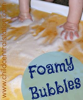 Foamy Bubbles! Water Table for Infants and Toddlers | Child Central Station - A great way to help the little ones beat the heat!