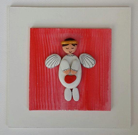 Artículos similares a Arte de piedra / piedra de arte, tablero de madera blanco, Angel blanco con alas, Eco Friendly, pintado a mano, Natural en Etsy