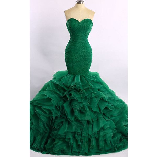 Trumpet Mermaid Green Strapless Organza Court Train Cascading Ruffles... ($199) ❤ liked on Polyvore featuring dresses, organza dress, green prom dresses, long dresses, long green dress and prom dresses