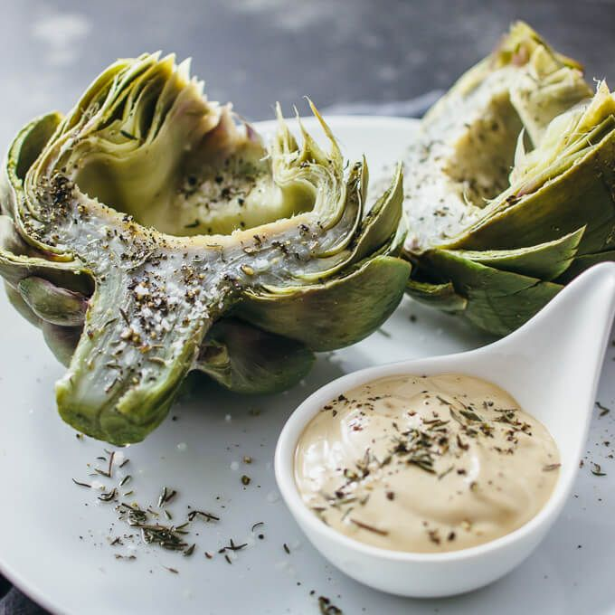 Here's the perfect foolproof recipe on how to cook artichokes! These artichokes are boiled so that you get a tender artichoke heart (doesn't get dry!). Replace the mayo with plain non fat Greek yogurt and balsamic with apple cider vinegar
