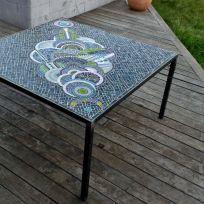 Table de jardin, mosaique vanina mercury, pate de verre Albertini 2 net