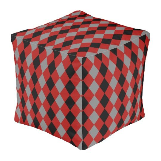 30% off with code ZAZZLESPROUT #Geometric pattern, #gray and #red #black rhombus theme #pouf #sale