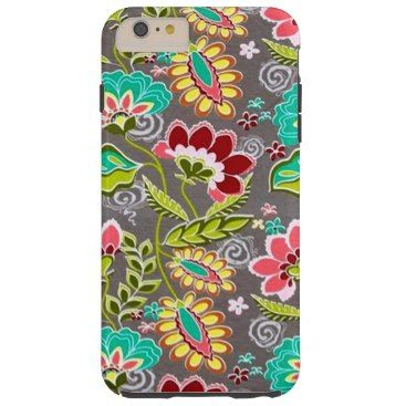"""Title : 30, Suzani, Floral on Leopard Fabric Print Tough iPhone 6 Plus Case  Description : Suzani, Ikat, Kilim, Decorative Trends, with various Backgrounds, such as damask, paisley, floral, """"leather-look"""", """"Animal-Skin-Prints for that Elegant, Exotic Cultural Style of Todays Trendy Home Décor and Accessories Fashions. Great Gift ideas for BoHo, Chick, Bohemian Themes as well.  Product Description : <div>  Style: Case-Mate Tough iPhone 6/6s Plus Case    <div>    <p>Contoured precisely to fit…"""