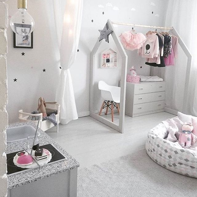 Pink, gray, and white kids room / facklinges