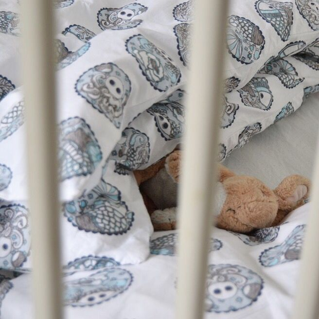 "We love to see our children's bedding in use! Here it's our ""Madhubani blue"" on www.frkvilstrup.dk - Photo: Frk. Vilstrup."