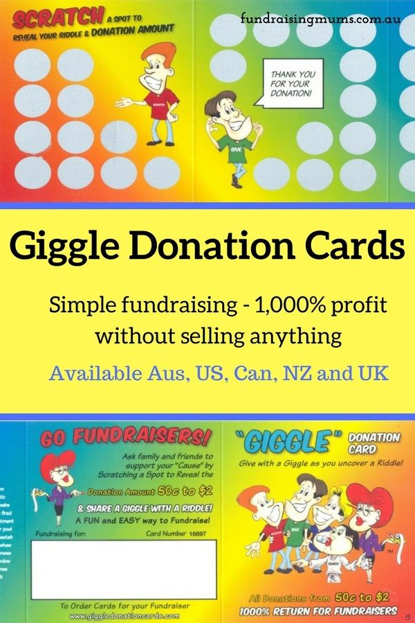 Giggle Donation cards are fun and simple way to raise fund with 1,000% profit.